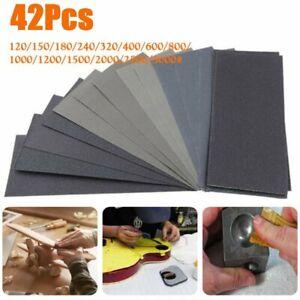 42X Schleifpapier Wasserfest Nass Papier Lack Sand 120 to 3000 für Auto, Holz