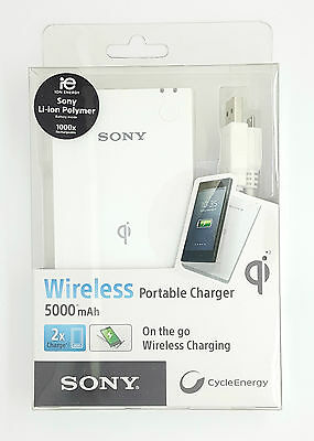Sony Wireless Qi Charging Pad & 5000mAh Portable Battery CP-W5 SONY5KQI Samsung