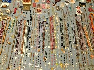 LOT-OF-150-ANTIQUE-amp-VINTAGE-CATHOLIC-ROSARIES-FROM-CARMELITE-NUNS-CONVENT