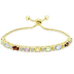 Rainbow-Chakra-Genuine-Gemstone-Natural-Stone-Adjustable-Bracelet-7-034-9-034-ITALY