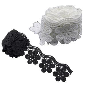 2-Yds-Polyester-Lace-Trim-Bridal-Dress-Belt-Ribbon-Flower-Sewing-DIY-White-Black