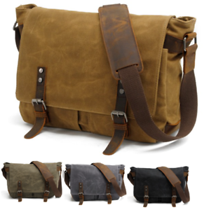 2120f5b05a1c Sling Shoulder messenger bag Canvas   Leather Men Briefcase 14 inch ...