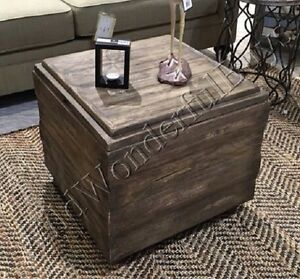 Image is loading Driftwood-Cube-Coffee-Table-Storage-Bench-Furniture-Rustic- & Driftwood Cube Coffee Table Storage Bench Furniture Rustic Farmhouse ...