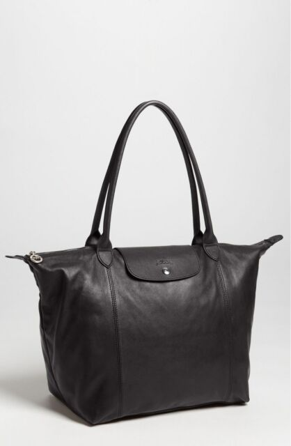 409c1b2e0ed Longchamp Le Pliage Cuir Leather Tote Bag Black/silver Made in France