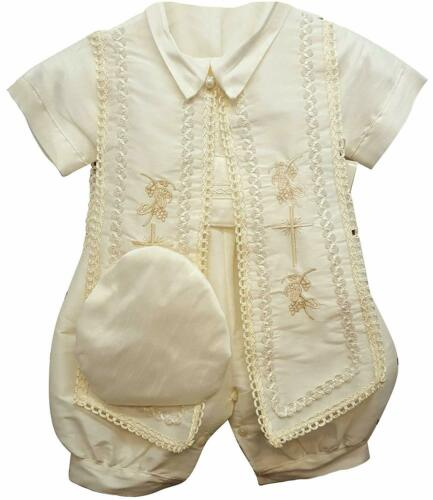 Vintage Baby Boys Christening Baptism Set Ivory Outfit with Hat Newborn 0 3 6 M