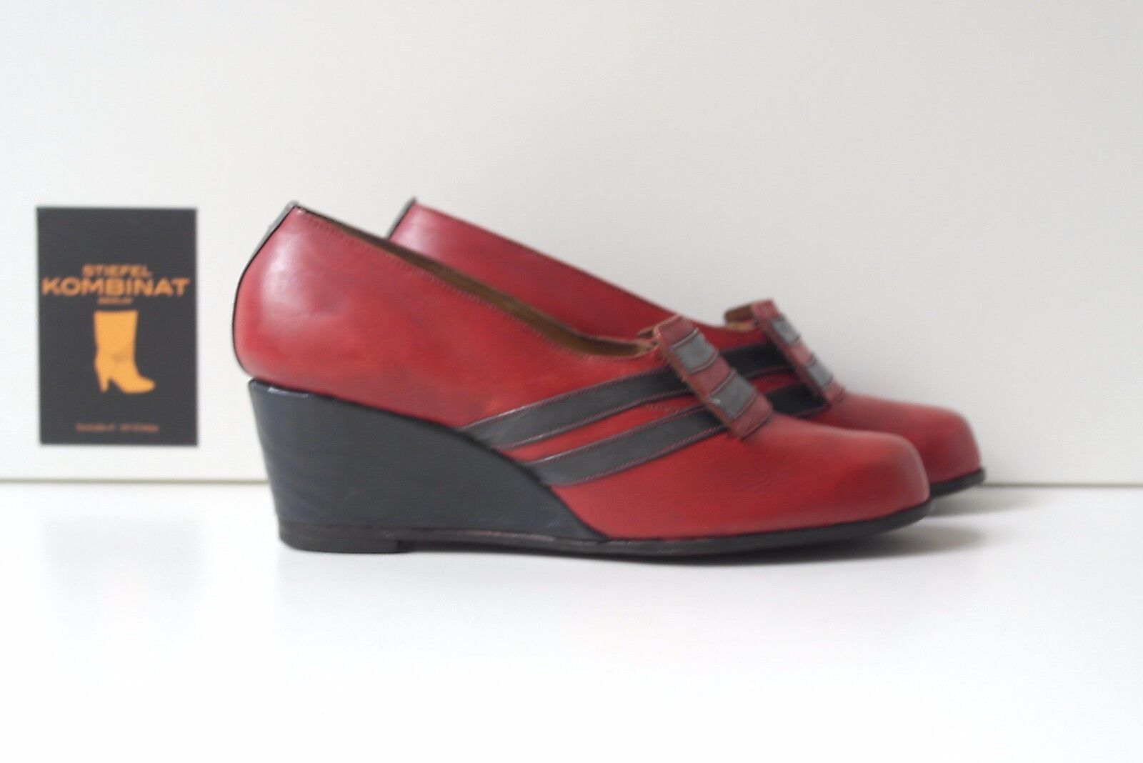 Antik Antik Antik Damen Pumps Wedges Keilabsatz Schuhe TRUE VINTAGE Halbschuhe rot blau a30af5