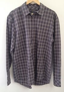 Banana Republic Dress Shirt Large Mens Blue Plaid 100% Cotton (145)
