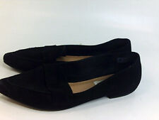 Steve Madden Women/'s Feather Suede Pointed Toe Loafers Black Leather Size 8 NIB