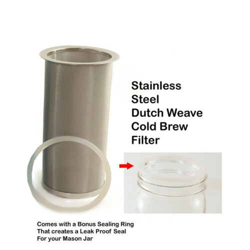 Ring Brew Tube Cold Brew Coffee Maker Reusable Stainless Steel Mesh Filter