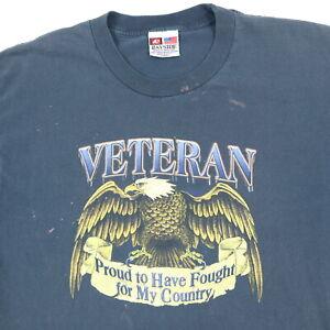 Vtg-Sun-Wash-Faded-Veteran-T-Shirt-LARGE-Bleach-Distressed-Eagle-Biker-USA-Made