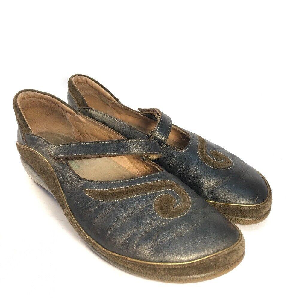 Naot matais 40 9-9.5 Mary Jane Bleu en Cuir Marron Hash Suede chaussures Flats