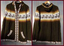 Vintage Strickjacke aus Alpakawolle  warm Jacke Kapuze Wolljacke Gr.M Neu Strick