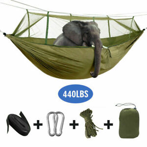 Double Person Hammock Outdoor Travel Camping Swing Hanging Bed w// Mosquito Net