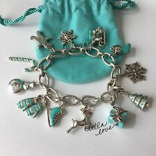 Tiffany ULTIMATE Christmas Winter Silver Blue Enamel 12 Charms Clasping Bracelet