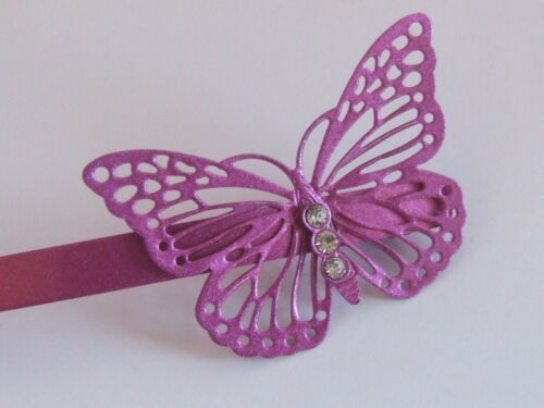 A Single Purple /& Clear Crystal Butterfly Girls Snap Grips Hair Pins Slides