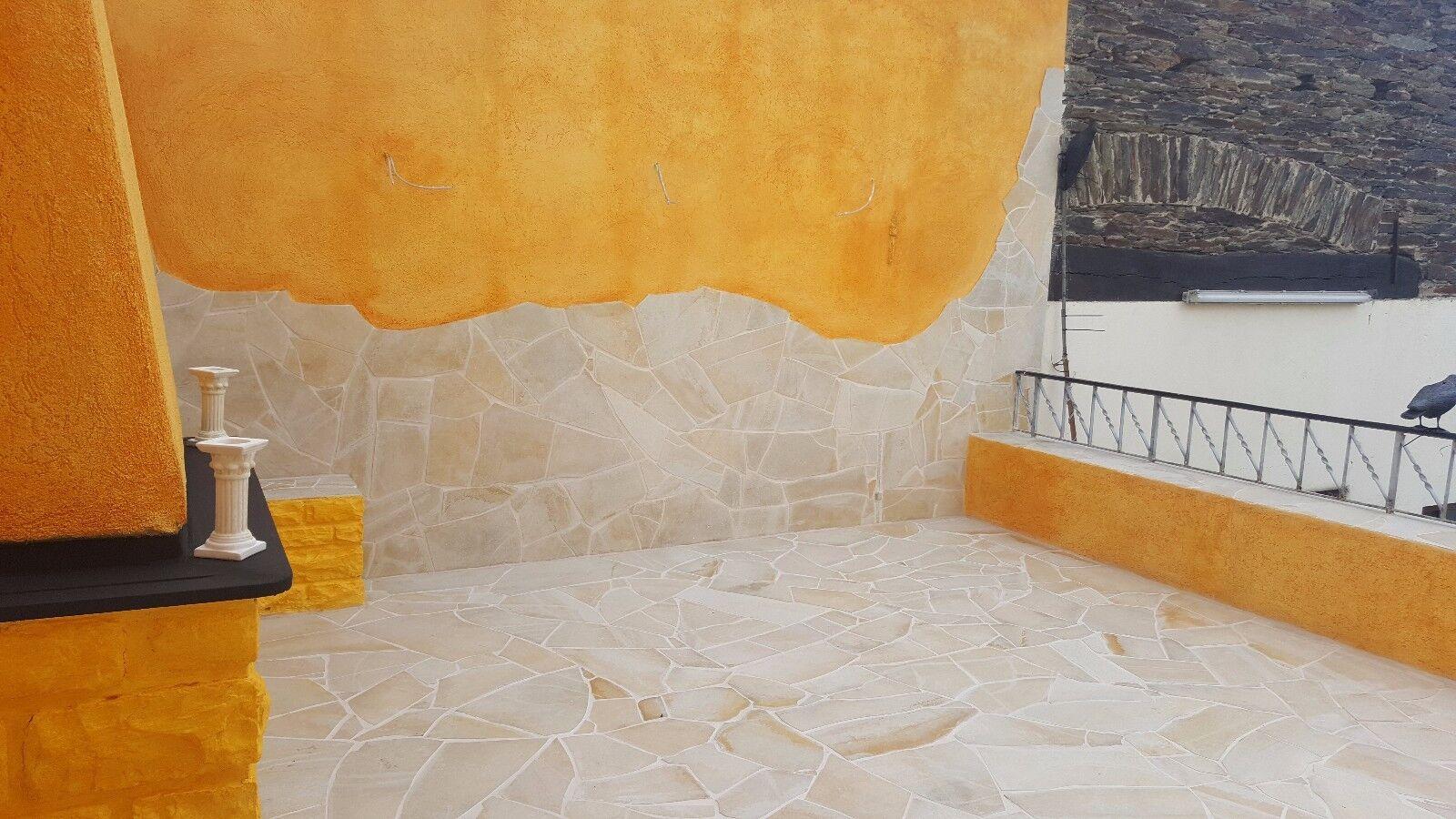Toscana crema Polygonalplatten 100m² Naturstein Wandverkleidung Pool