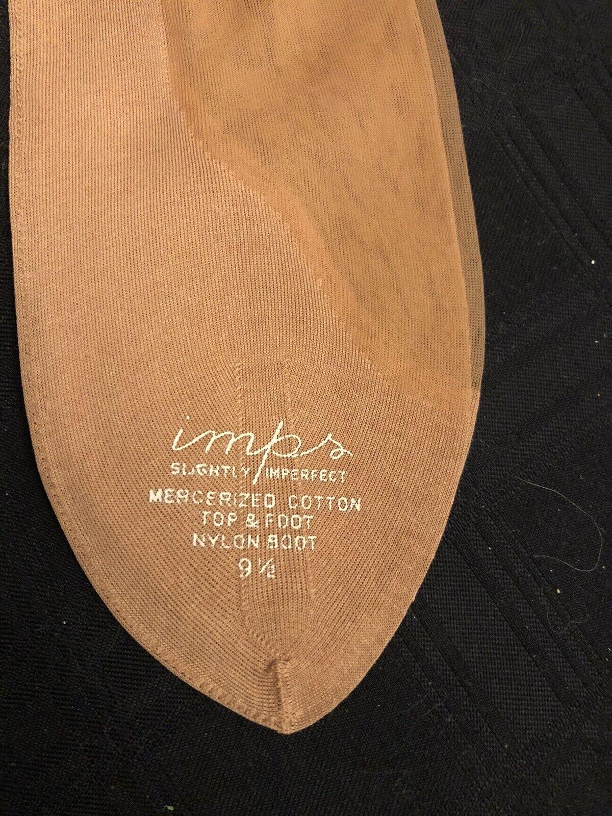 1 vintage Imps Sheer Cotton RHT Nylon stocking hosiery Size 9 1/2 Seams