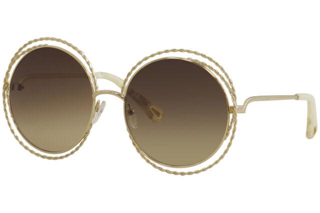 d3912847 Chloe Women's CE114ST CE/114/ST 743 Gold Fashion Round Sunglasses 58mm