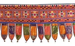 Antiques Embroidered Handmade Toran Gate Topper Door Hanging Valance Indian Traditional