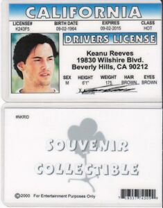 Details about Keanu Reeves Drivers License FAKE ID I D  Card star of the  MATRIX / SPEED movies