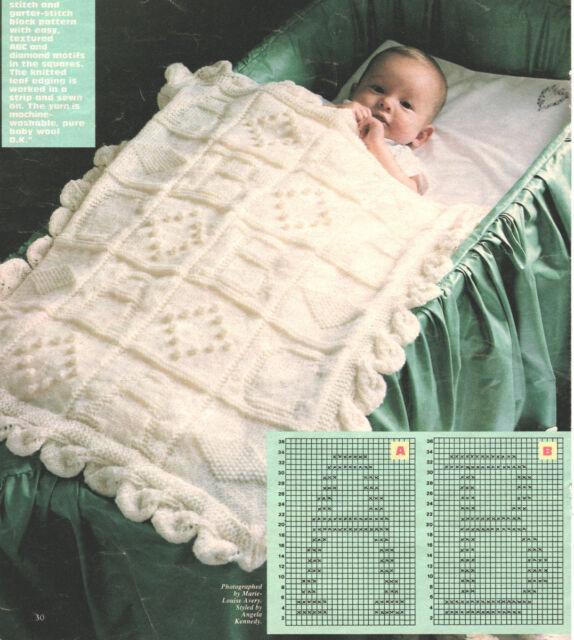 Baby Blanket ABC & Diamond Motif Squares Leaf Edge DK Knitting ...