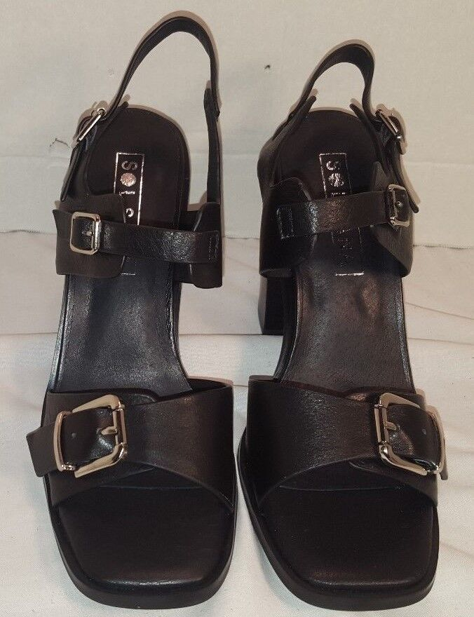 NEW ANTHROPOLOGIE SOL SANA GIA BLACK LEATHER SANDALS WOMEN'S US SIZE US WOMEN'S 9 EUR 39 2f7b87