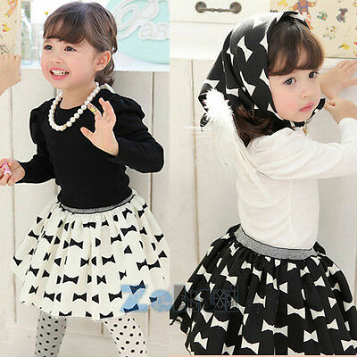 Baby Kid Girls Long Sleeve Shirt+Bow-knot Skirt+Kerchief 3PC Set Outfits Clothes