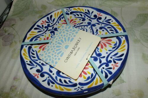 CYNTHIA ROWLEY MELAMINE DINNER PLATES HIBISCUS SALAD APPETIZER medallion SKULLS