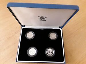 1999-2002 Royal Mint UK Silver Proof £1 Piedfort Coins Set Of 4