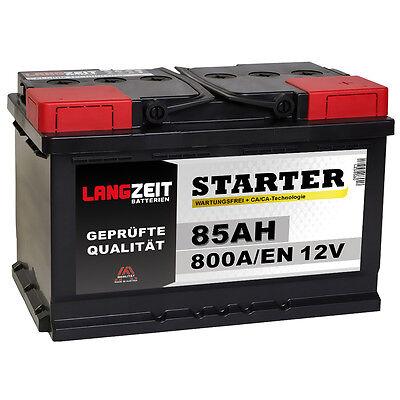 LANGZEIT Autobatterie 12V 85Ah 800A/EN ersetzt 80AH Starterbatterie