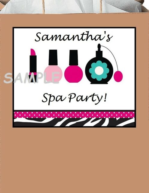 18 Personalized Spa Party Stickers Birthday Nail Polish Bag Labels Tags Favors