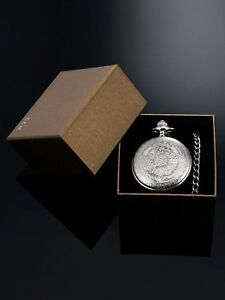 Quartz-Pocket-Watch-for-Men-with-Black-Dial-and-Chain-Silver