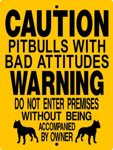 PIT BULL ALUMINUM SIGN DOGS  WARNING PET ANIMAL  d3187P