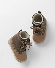 GAP Baby Boys Size 0-3 Months Brown / Tan Sherpa-Lined Ski Booties Boots Shoes