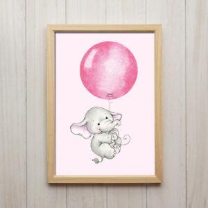 Details zu Baby Elefant Mädchen Mit Ballon Rosa Pink Kunstdruck A4 Bild  Kinderzimmer Tier