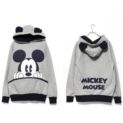 Womens Mickey Minnie Mouse Ear Sweatshirt Jumper Casual Hoodie Pullover Coat Top