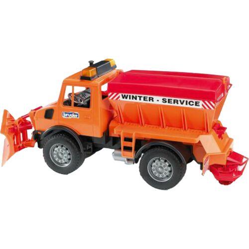 Spielzeugautos bruder MB-Unimog Winterdienst mit Räumschild Modellfahrzeug