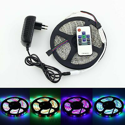 5m 3528 SMD RGB 300 LED Strip Light IP65+10 Key RF Remote+12V 2A Power Adapter