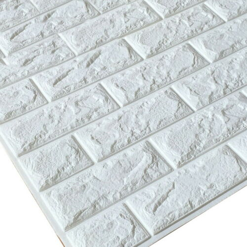 White 3D Self-adhesive Tile Brick Wall Sticker Foam Panel Wallpaper 60*30cm UK