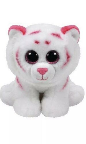 """TY Beanie Babies TABOR The Pink /& White Tiger 6"""" New with Tags"""