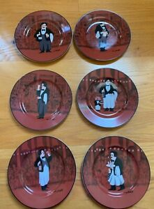 Williams-Sonoma-Guy-Buffet-LES-GARCONS-8-1-4-034-Salad-Plates-Complete-Set-of-6