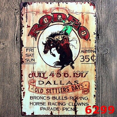 cowboy  ride horse rodeo Metal Tin Sign for hanging Bar Pub Home Vintage Retro