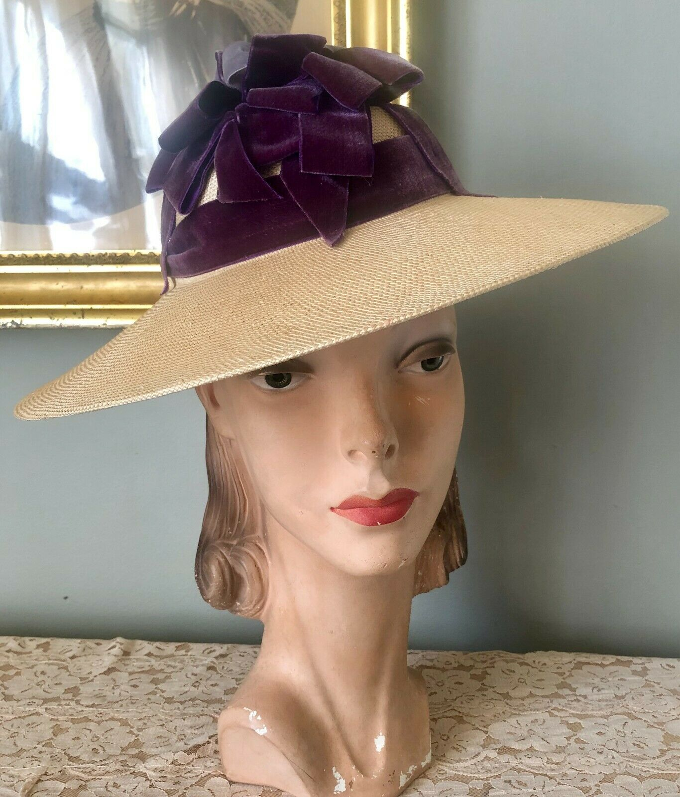 VINTAGE 1940's GERMAINE STRAW WIDE BRIM TILT HAT … - image 1