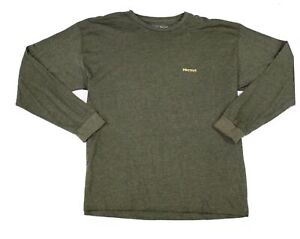 Marmot-Mens-T-Shirt-Green-Size-2XL-Long-Sleeve-Crewneck-Graphic-Tee-35-157