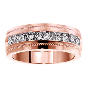 1-00-CT-Princess-Cut-Diamond-Men-039-s-Ring-in-18k-Rose-Gold-Channel-Setting-NEW