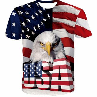 America Flag Eagle 3D Print Casual T-Shirt  Men/'s Women Short Sleeve Tops Tee