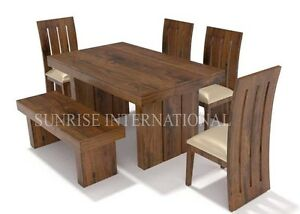 Designer Wooden Dining Table with 4 Chair & 1 bench Set (SUN-DSET677)