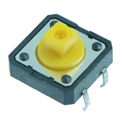 10 x 12x12mm quadrato ATTUATORE Momentanea PCB interruttore tattile 7.3mm