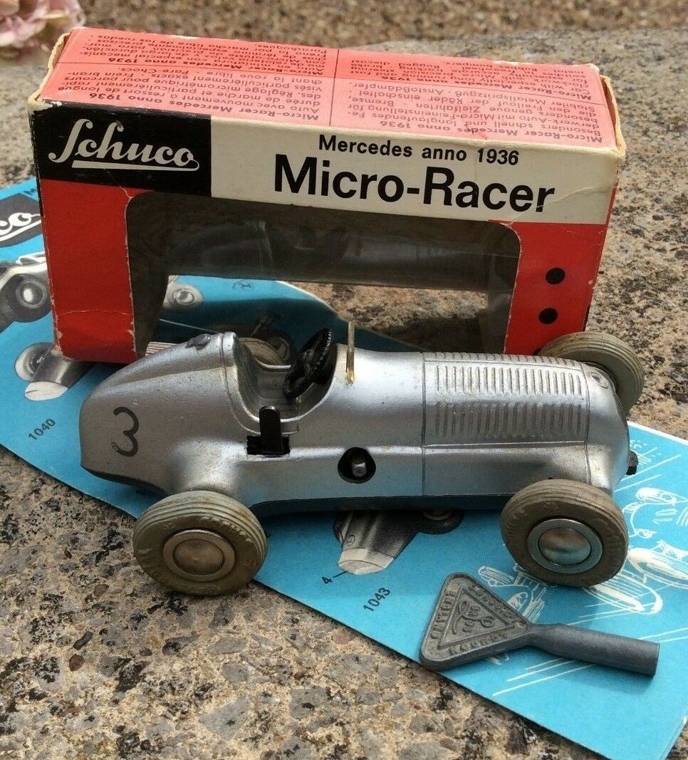 Rare Vintage SCHUCO WESTERN GERMANY MERCEDES MICRO RACER 1936 - 1043 2