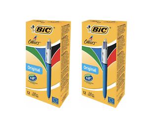 Bic-4-Couleurs-Original-Stylo-a-Bille-1-0mm-Fin-Retractable-2-X-Boites-de-12